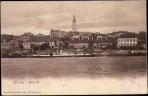 Ak Belgrad Beograd Serbien, Blick auf den Ort