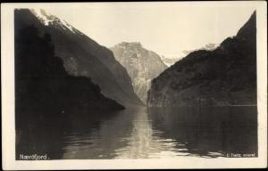 Ak Norwegen, Naeröfjord, Landschaft, Berge