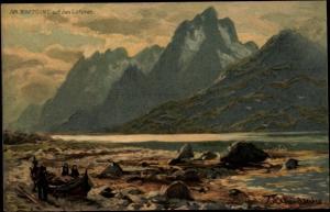 Künstler Ak Lofoten Norwegen, Am Raftsund, Landschaft, Berge