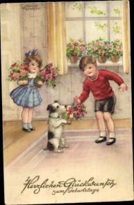 Künstler Ak Petersen, Hannes, Glückwunsch Geburtstag, Kinder mit Blumen, Hund