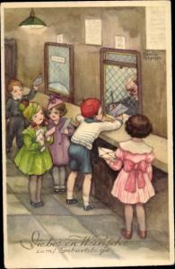Künstler Ak Petersen, Hannes, Glückwunsch Geburtstag, Kinder mit Briefen am Postschalter