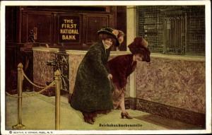 Ak The First National Bank, Reichsbanknebenstelle, Damen mit Hüten und Mänteln