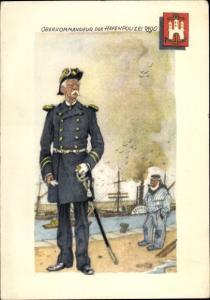 Künstler Ak Hamburg, Oberkommandeur der Hafenpolizei 1890