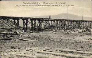 Ak Eisenbahnbrücke, erbaut von der Eisenbahn Bau Kompanie 19