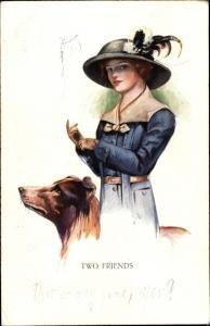 Künstler Ak Two Friends, Frau mit Hund, Hut
