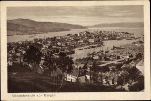 Ak Bergen Norwegen, Gesamtansicht