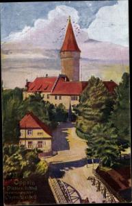 Künstler Ak Opole Oppeln SchlesienPiasten Schloss