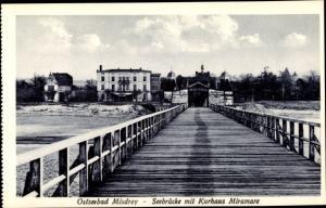 Ak Międzyzdroje Misdroy Pommern, Seebrücke mit Kurhaus Miramare