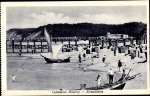 Ak Międzyzdroje Misdroy Pommern, Strandleben, Strandkörbe, Segelboot