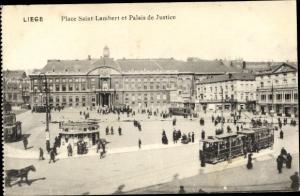 Ak Liège Lüttich Wallonien, Place Saint Lambert et Palais de Justice, Straßenbahn