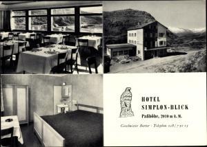 Ak Simplon Kanton Wallis, Hotel Simplon Blick, Außenansicht, Restaurant, Gästezimmer