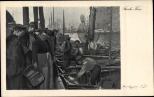 Künstler Ak von Seggen, Frische Ware, Fischhändler am Hafen