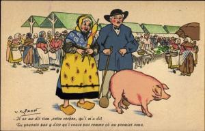 Künstler Ak Spahn, V., Il ne me dit rien votre cochon, Paar mit Schwein, Marktplatz