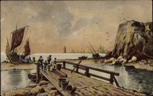 Künstler Ak Fischerboot an der Küste