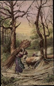 Künstler Ak Holzfäller bei der Arbeit im Wald, Säge, Frau trägt Äste