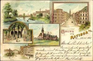 Litho Racibórz Ratibor Schlesien, Bahnhofstraße, Schützenhaus, Ring, Centralhalle