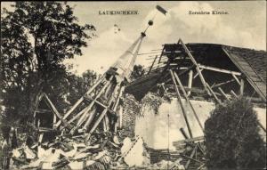Ak Saranskoje Laukischken Ostpreußen, Ruine der Kirche, Kriegszerstörung I. WK