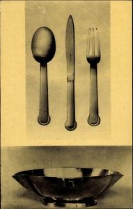 Ak Art Deco, Silberbesteck von Jean Puiforcat, Silberschale von Jean Serriere, Paris Galerie Hebrard