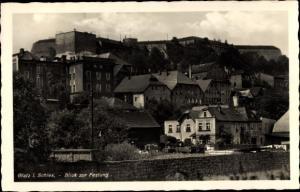 Ak Kłodzko Glatz Schlesien, Blick zur Festung