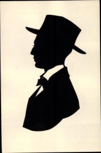 Scherenschnitt Ak Portrait eines Mannes mit Hut