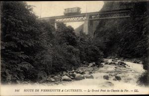 Ak Route de Pierrefitte a Cauterets, Le Grand Pont du Chemin de Fer