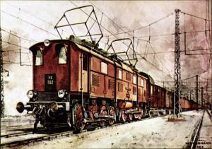 Künstler Ak Herrmann, Willy, Elektrische Güterzuglokomotive EG 5, Tender EG 582