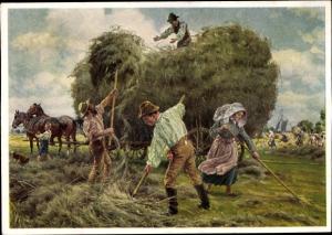 Künstler Ak Henseler, Ernst, Bauern bei der Heuernte