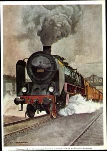 Künstler Ak Herrmann, W., Personenzuglokomotive P 10, Deutsche Reichsbahn, Tender 39 117