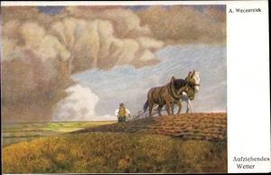 Künstler Ak Weczerzick, A., Aufziehendes Wetter, Pferdepflug