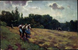 Künstler Ak Wopfner, J., Heuernte, Bauern auf dem Feld