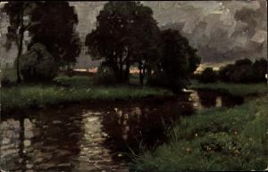 Künstler Ak Müller Kurzwelly, Der Deutsche Wald, Flusspartie