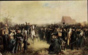 Künstler Ak Scholtz, Julius, Aufruf an mein Volk, Freiwillige von 1813 vor König Friedrich Wilhelm