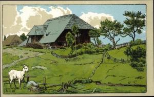 Künstler Ak Landschaft mit Haus und Ziege
