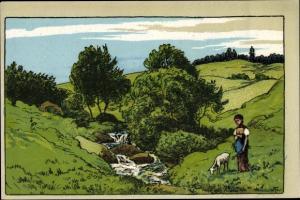 Künstler Ak Landschaft mit Mädchen und Ziege