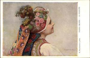 Künstler Ak Stachiewicz, P.. La Fiancee, Frau in polnischer Tracht