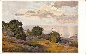 Künstler Ak Müller Kurzwelly, Sommertag an der schwedischen Küste