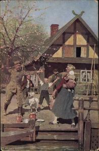 Künstler Ak Röchling, C., Heimatsurlaub, Soldat kehrt Heim zu seiner Familie, Rotes Kreuz