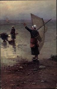 Künstler Ak Wanike, L., Pecheuses, Fischerinnen am Strand
