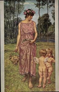 Künstler Ak Thoma, Hans, Frau in rosa Kleid, zwei Engel, Amor