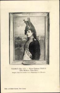 Künstler Ak Talmay, Marie Therese Figeur, Madame Sans Gene, Portrait, Dragoner