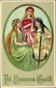 Litho Foi, Esperance, Charite, Allegorie, Frauen, Herz, Kreuz, Anker