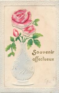 Relief Litho Souvenir affectueux, Rose in Blumenvase