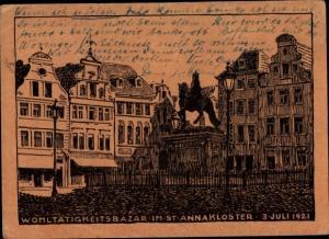 Künstler Ak Düsseldorf am Rhein, Platz mit Reiterdenkmal, Wohltätigkeitsbazar, St. Anna Kloster 1921