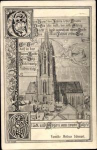 Passepartout Ak Frankfurt am Main, Glückwunsch Neujahr, Dom, Engel, Familie Arthur Schmorl