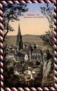 Passepartout Ak Freiburg im Breisgau, Münster vom Schlossberg