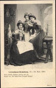 Ak Heidelberg am Neckar, Luisenbazar 1904, Frauen in Trachten, Spinnen