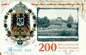 Wappen Glitzer Ak Berlin Mitte, 200-jährige Jubelfeier des preußischen Königshauses 1901