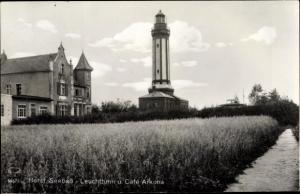 Ak Niechorze Horst Seebad Pommern, Leuchtturm, Cafe Arkona
