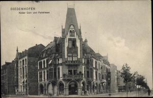 Ak Thionville Diedenhofen Lothringen Moselle, Kaiser Carl Straße Ecke Parkstraße