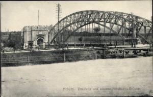 Ak Nisch Nis Serbien, Zitadelle, eiserne Nischsava Brücke